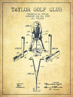 Golf Poster featuring the drawing Taylor Golf Club Patent Drawing From 1905…