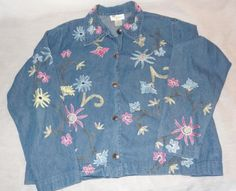 Studio-Works-Denim-Jacket-Embroidered-Flowers-Size-Small-Jean-Blue-Pink-Yellow