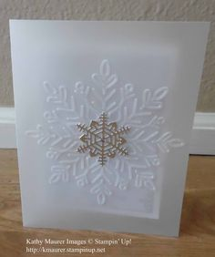 Christmas Card made with Stampin' Up!'s Winter Wonder Embossing Folder and Seasonal Layers Thinlits.  For details, go to my Thursday, November 2, 2017 blog at http://www.stampinup.net/blog/2130686/entry/nov_2