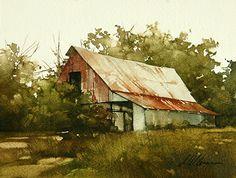 """""""Sundown"""" by Joseph Alleman watercolor (unframed) ~ 6"""" x 8"""" [sold]"""