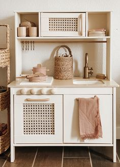Kitchen Tiles Design, Kitchen Wall Tiles, Kitchen Cabinet Design, Kitchen Reno, Kitchen Curtains, Kitchen Cabinets, Ikea Toy Kitchen Hack, Ikea Childrens Kitchen, Kids Wooden Kitchen