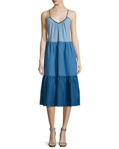 Sunset+Colorblock+Tiered+Dress,+Sunset+Blue+by+MiH+at+Neiman+Marcus.
