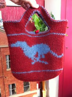 Reversible double knit felted greyhound bag