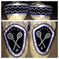 Another completed pair! Boys haudenosaunee lacrosse stick design :) raised beadwork moccasins