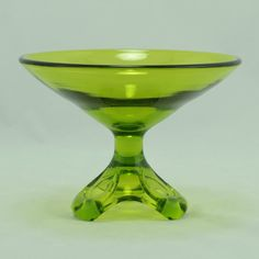 Viking Art Glass Arching Thumbprint Compote Avocado 1970 Vtg