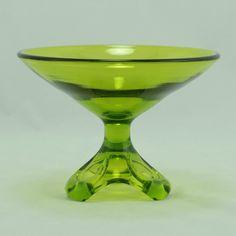 Viking Art Glass Arching Thumbprint Compote Avocado 1970 Vtg