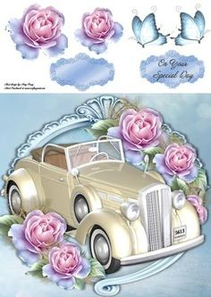 """Beautiful Cream Wedding Car With Blue Roses 8x8 on Craftsuprint designed by Amy Perry - Beautiful Cream Wedding Car With Blue Roses 8x8 in lovely blue ornate frame with roses, also has decoupage and choice of tag """"On Your Special Day"""" and a blank tag for your own sentiment - Now available for download!"""