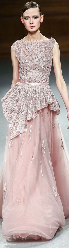 Tony Ward ~ Couture  Spring Sleeveless Gown,  Peach,  2015