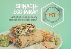 Perfect as a healthy satiating dinner. The wrap looks so pretty with the spinach blending in. It is a healthy alternative to normal wraps, it contains a lot of proteins in combination with vitamins and mineral. Egg Wrap, Spinach Egg, Avocado Cream, Banana Pancakes, Wrap Recipes, Healthy Alternatives, Healthy Snacks, Chicken Recipes