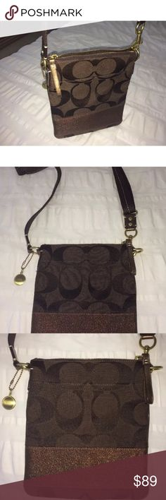 Coach cross body purse/handbag Brown Coach Crossbody handbag/purse Very nice condition! Measures 8 1/2 inches in length and 7 inches across Coach Bags Crossbody Bags