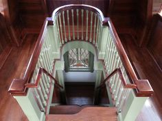"""Tower Stairs: Victorian Guest Cottage  An alternating step, ships-ladder connects family and guests to spectacular views from the tower's """"look-out"""". On a clear day, the view stretches thirty miles across the New York City reservoir system."""