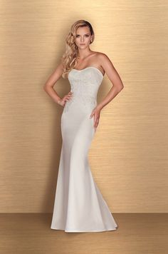 View Satin Beaded Wedding Dress - Style #4660 from Paloma Blanca. Strapless beaded lace sweetheart bodice. Fit and flare Paloma Satin skirt. Chapel Train.