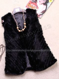 100%  Real Genuine Knit Knitted Mink Fur Vest Gilet Waistcoat Winter Womens
