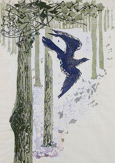 Gertrude Hermes The Cuckoo 1958 woodblock and linocut