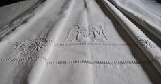 Antique linen sheet, Country French Decor, Vintage French Linen, Monogram RM by hand in Bourdon point, vintage linen bedding on Etsy, 1282:92kr