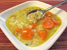 Easy Turkey Rice Soup made from your leftover turkey carcass http://www.quick-german-recipes.com/turkey-rice-soup-recipe.html