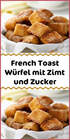 French toast cubes with cinnamon and sugar - INGREDIENTS 2 thick cm) slices . - French toast cubes with cinnamon and sugar – INGREDIENTS 2 thick cm) slices of white bread 60 - Desserts Français, French Desserts, French Food, Greek Recipes, Pie Recipes, Cookie Recipes, Sugar Cake, French Toast Bake, No Sugar Foods
