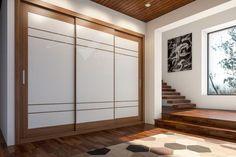Armario de 3 puertas correderas, Serie Tabelle, Nogal canaletto con melamina blanca