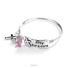 Pray for a Cure for Breast Cancer.  Item B-140028 $20 www.justjewelry.com/cherylstoltenberg  Under the shop button go to JJ Gives Back and you will find this bracelet.  We also have more pieces under the JJ Boutique tab