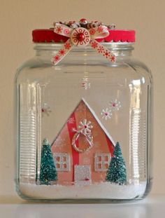 Waterless Snow Globe - Simple but pretty craft for winter. You can even upcycle a glass jar and save some money. Noel Christmas, All Things Christmas, Winter Christmas, Vintage Christmas, Christmas Ornaments, Holiday Crafts, Holiday Fun, Jar Crafts, Christmas Inspiration