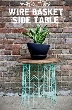 Easy DIY wire basket side table upcycle made from a trash can.