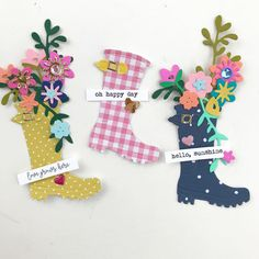 Let's take a minute to admire these adorable rain boots by 🙌🏼 Girl. Perfect for dancing in the rain 🌧 👏 👏 ☔️ 🌧… Card Making Inspiration, Making Ideas, Umbrella Cards, Candy Cards, Scrapbook Embellishments, Scrapbook Paper Crafts, Card Tags, Flower Cards, Kids Cards
