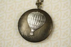 Long Hot Air Balloon Silver Locket Necklace Vintage by FreshyFig,