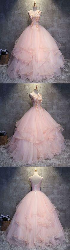 Pink round neck tulle lace applique long prom dress, pink evening dress #fashiondresses#dresses#borntowear