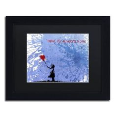 Trademark Fine Art There Is Always Hope Canvas Art by Banksy Black Matte, Black Frame, Size: 11 x 14, Multicolor