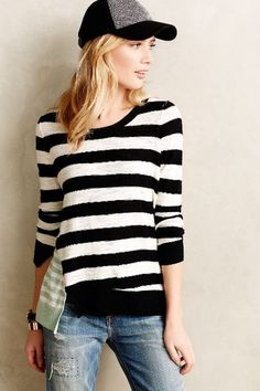 c49d22adeaf split stripe pullover - so cute with a hat!  bloggerstyle Sweater Outfits