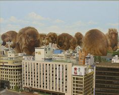 giant animals invade cities by shuichi nakano City Backdrop, Japon Tokyo, Giant Animals, Collage Techniques, Surrealism Painting, Tours, Japanese Artists, Urban Landscape, Community Art