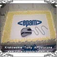 020. Tort z białej czekolady dla firmy informatycznej. White chocolate cake for IT company.