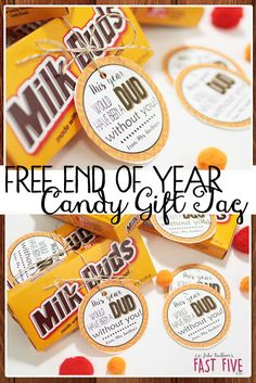 Free End of Year Gift Tags for Students and Teachers, Milk Duds, Yearbook Staff