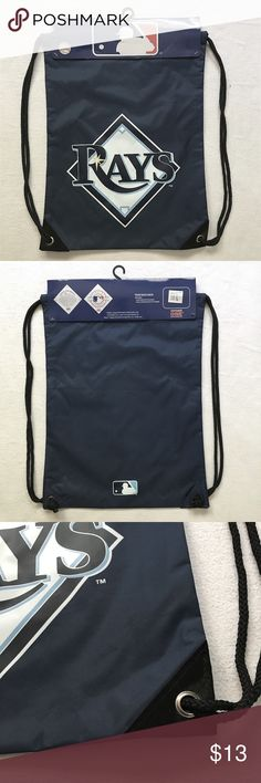 Tampa Bay RAYS - MLB Team Back-Sack Drawstring Bag Bold Tampa Bay Rays graphics display your team passion for everyone to see, and the durable metal grommets at the corners will make sure your game day gear is secure.  Measures approx. 18'' x 14'' Drawstring closure Metal grommets with double-reinforced bottom corners Water Resistant Nylon shell Screen print graphics Officially licensed MLB Merchandise Concept One Bags Backpacks