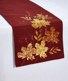Velvet Leaf Appliqué Table Runner