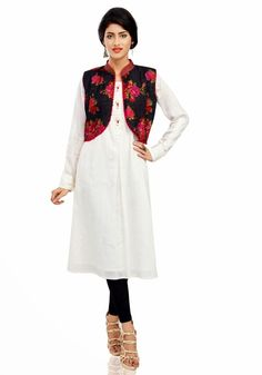 Mesmerizing Black & Off White Ready Made Kurti