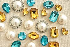 Blue Gold Rhinestone Push Pins Turquoise Ivory by fluteofthehour