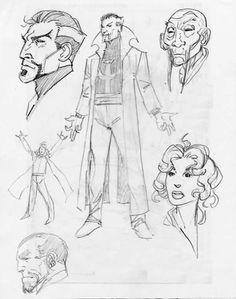 Doctor Strange, Ancient One, Clea & Mordo sketches by John Byrne.