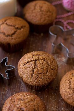 These moist, tender spiced gingerbread muffins are perfect for chilly winter mornings. They're everything you love about gingerbread cookies, without all of the work! #ad