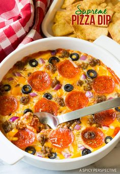 The BEST Supreme Pizza Dip - Perfect for Super Bowl and can be made in the Slow Cooker! | ASpicyPerspective.com
