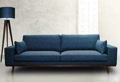 Perfect blue sofa for your living room 8 ⋆ Main Dekor Network Living Room Sofa Design, Home Living Room, Living Room Designs, Living Room Decor, Sofa Bed Design, Sofa Furniture, Living Room Furniture, Furniture Design, Minimalist Sofa