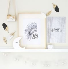 Little chief and choose adventure marble print for boys room and nursery.
