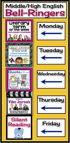 LOVE the idea of switching it up each day.  I think kids would appreciate this! Begin each of your middle or high school English classes with these daily bell-ringer routines! This comprehensive FULL YEAR resource includes everything you need to start each class off with an engaging activity! All you have to do is choose the day of the week for each, and your planning is complete.