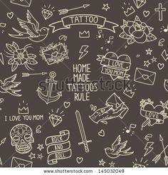 Old school tattoo seamless pattern. Cartoon tattoo elements in funny style: anchor, dagger, skull, flower, star, heart, diamond, scull and swallow by motuwe, via ShutterStock
