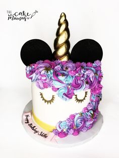 Mickey Mouse Unicorn Cake! Call or email to book your Unicorn Inspired Birthday Cake today! #mickey #mickeymouse #celebration #celebrate #disney #unicorn #unicornparty #birthday #rainbowhair