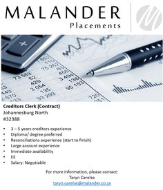 Hiring: Creditors Clerk (Contract) - URGENT   For more information, visit our website at www.malanderplacements.co.za  #creditors #finance #financeprofessionals #newopportunity #jobs #jobsavailable #applynow #malanderplacements More Information, Pre And Post, New Opportunities, Find A Job, Finance, Website, Economics