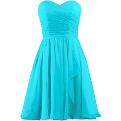 ANTS Women's Sweetheart Short Bridesmaid Dresses Chiffon Wedding Party... ($40) ❤ liked on Polyvore featuring dresses, sweetheart chiffon dress, blue chiffon dress, chiffon dress, chiffon bridesmaid dresses and blue cocktail dress