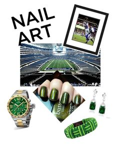 """Gridiron Green Nails"" by ward-hollie on Polyvore featuring beauty, TW Steel, NOVICA and Icz Stonez"
