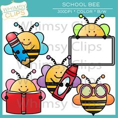 This fun School Bee clip art freebie contains 10 image files, which includes 5 color images and 5 black & white images in png. All images are 300dpi for better scaling and printing. The School Bee clip art set contains:Bee holding a pencilBee with a whiteboardBee reading a bookBee with a crayonBee wearing glassesYou will receive:5 color png images5 black & white png imagesTerms of Use: The clip art may be used in educational commercial products.