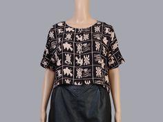 Vintage 90s Crop Top   Ethnic Tribal Animals Novelty Print Shirt   Short Sleeve Boho Top   Cropped Blouse   Black Beige   Size S M L by SHOPPOMPOMVINTAGE on Etsy